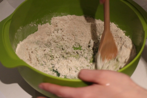 Flour and Pandan Wet Mixture