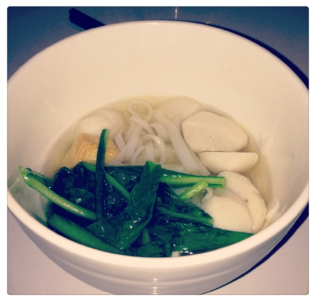 Fishball Rice Noodle Soup served with Vegetables