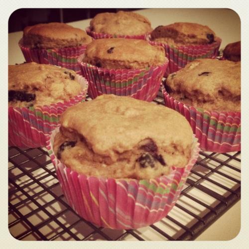 Vegan blueberry and banana muffins