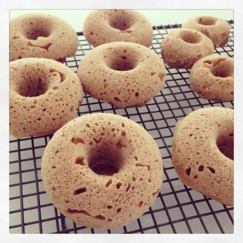 Vegan baked banana donuts