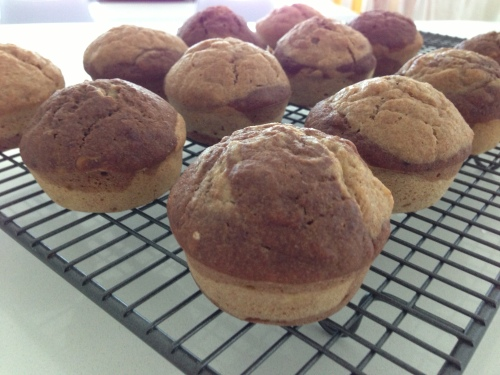 Chocolate and Vanilla banana muffins