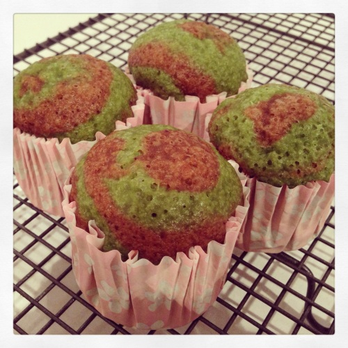 Marbled Chocolate and Pandan Steamed Sponge Cakes